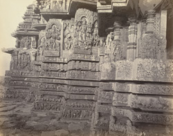 Views in Mysore. Ruined temple of Hallabeed [Hoysalesvara Temple, Halebid]. Carvings on N. west face